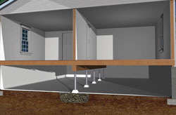 Crawl Space in Calgary with steel supports